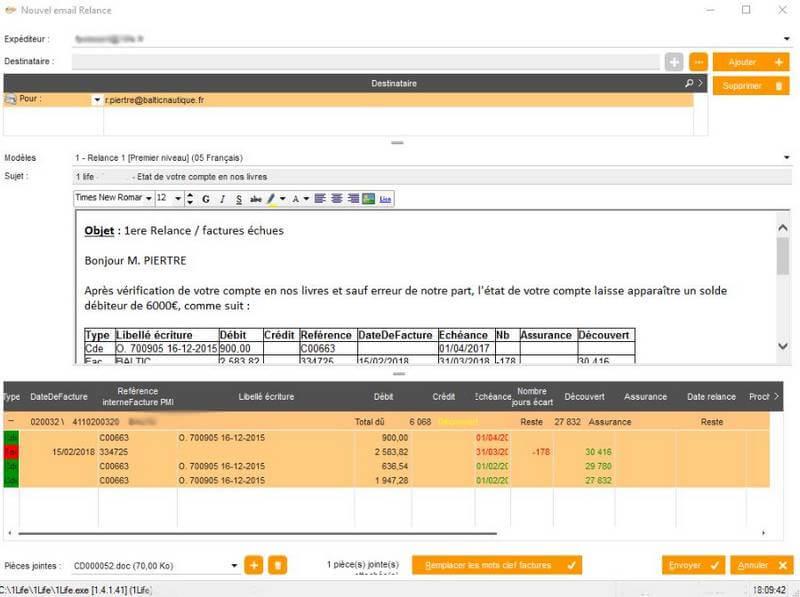 logiciel relance client impayés ERP Cegid