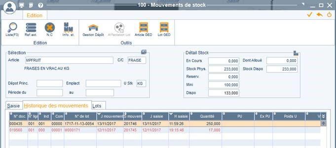 Stocks - Mouvements Etats Inventaires